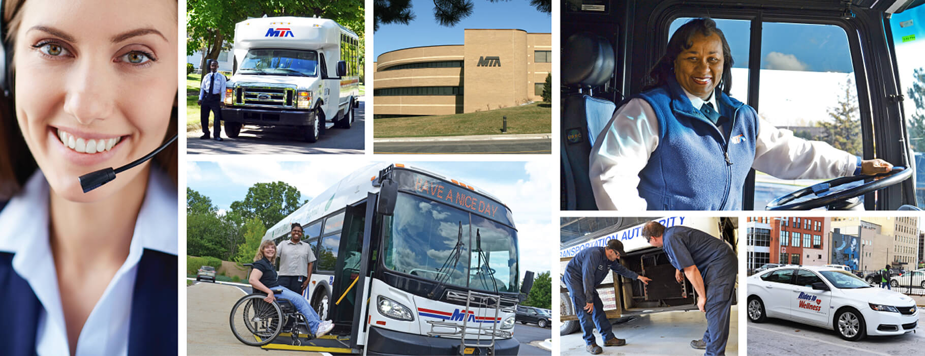 A collage of images showing people working different jobs at MTA Flint.