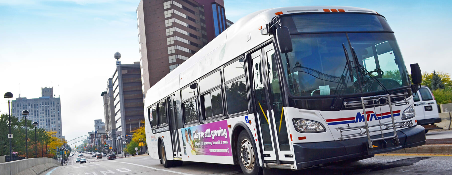 MTA Primary Route bus on Saginaw Street downtown Flint.