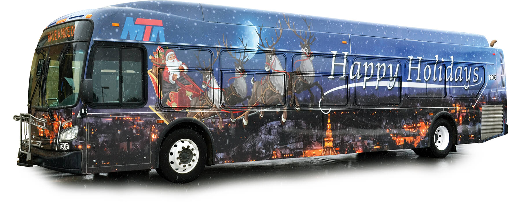 MTA Primary Route bus wrapped with holiday graphics.
