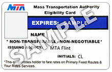 A sample MTA Eligibility Card