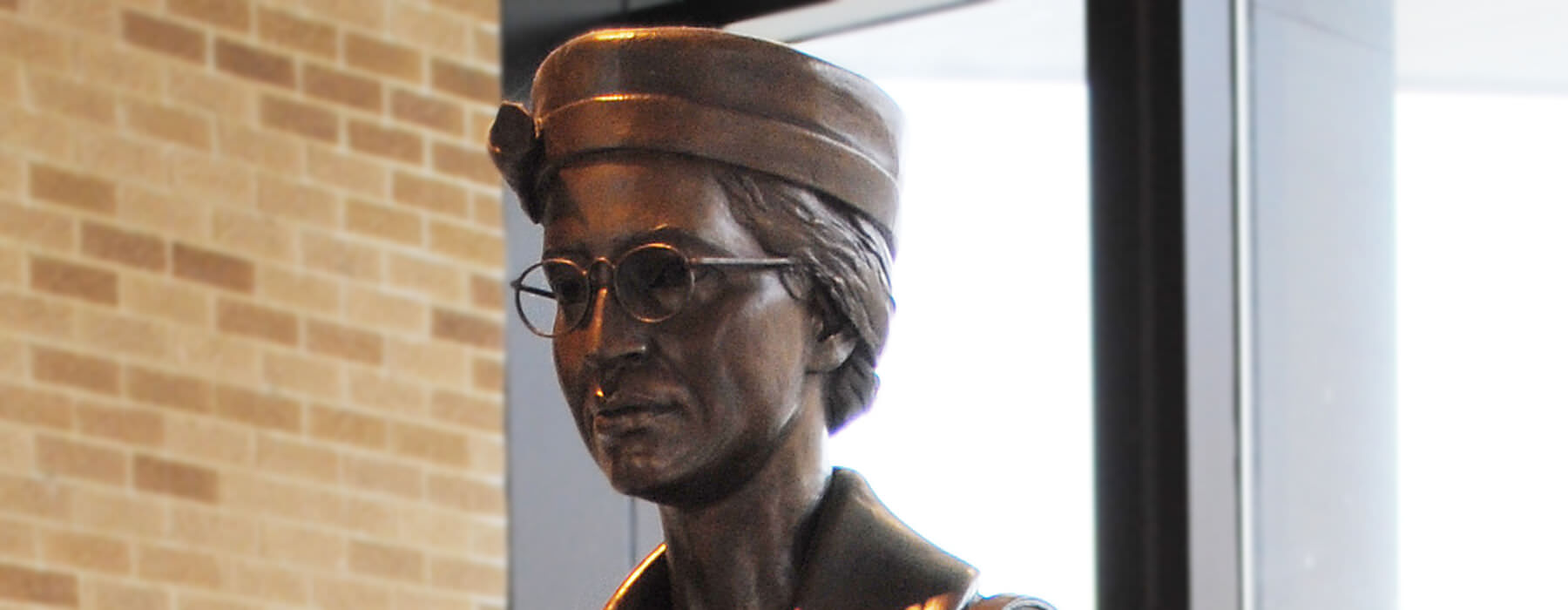Close up of the Rosa Parks statue's head.